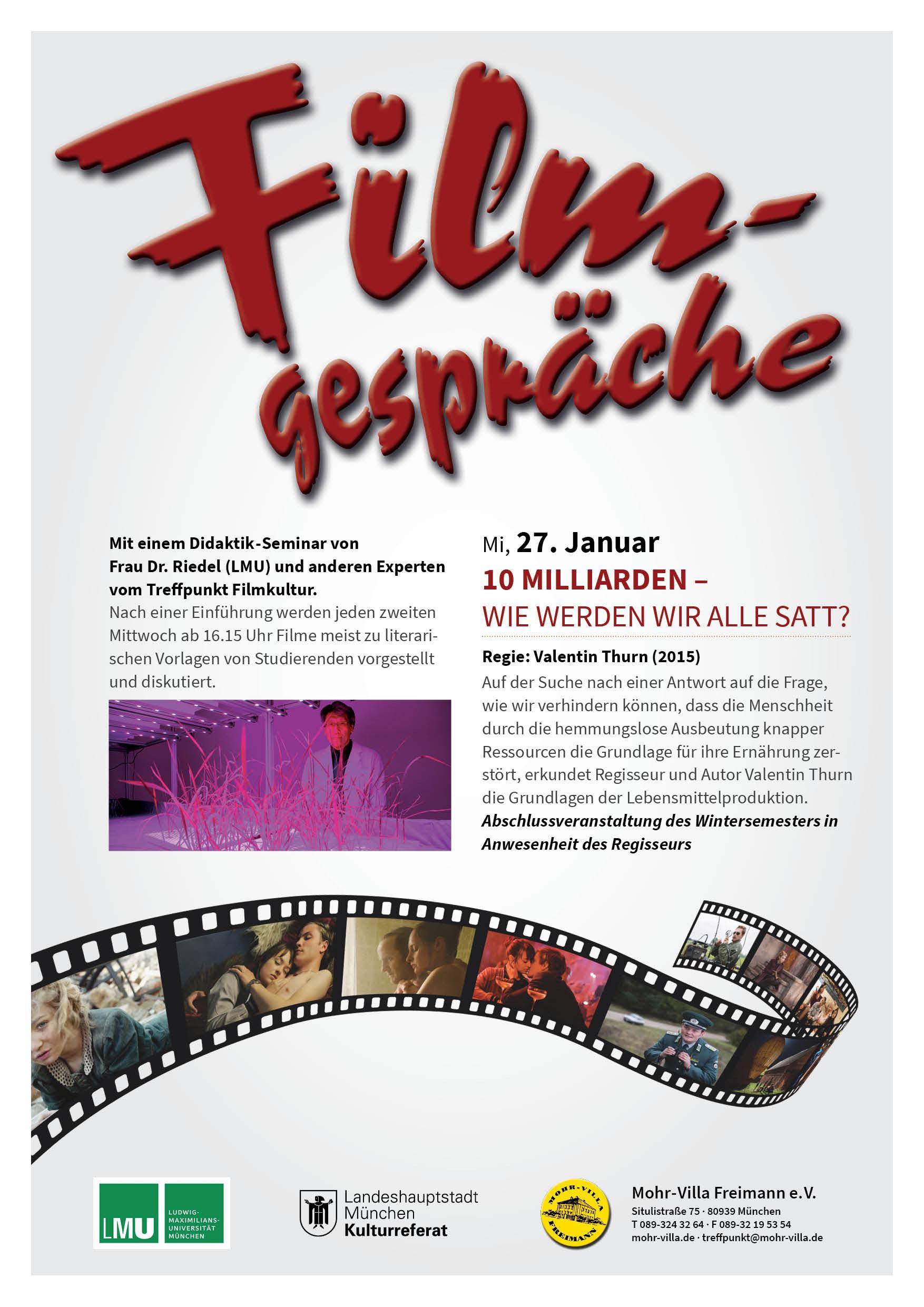 FILMGESPRÄCHE IN DER MOHR-VILLA - Mohr-Villa Freimann