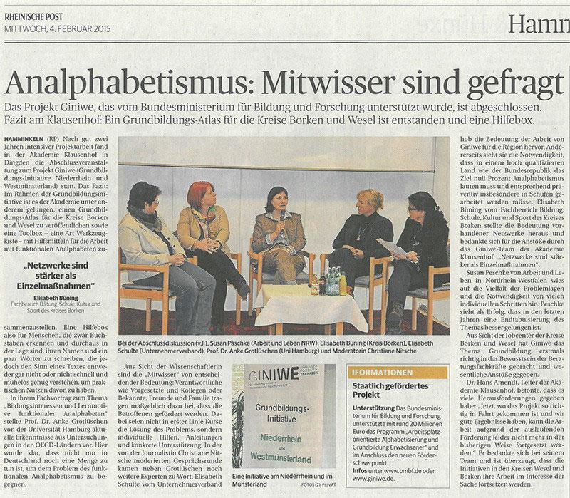 Lokale Berichterstattung Akademie Klausenhof Giniwe