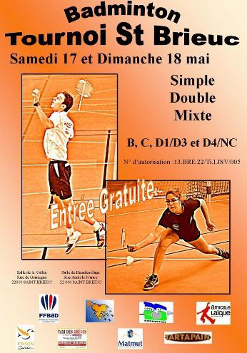 Badminton Club Briochin vous accueille les 17 et 18 mai 2014 pour son  tounoi annuel. d90d14ba861