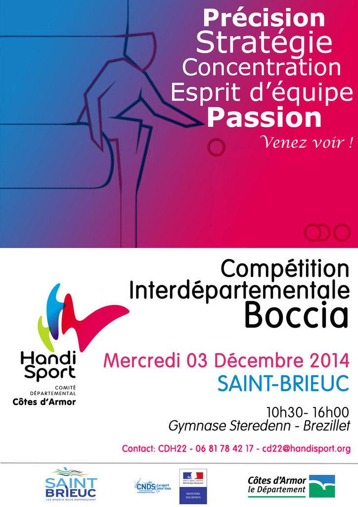 Notre Comité organise une compétition Interdépartementale 22 29 de Boccia.  Ce sera le mercredi 03 décembre à la salle Steredenn 53766d59fe8