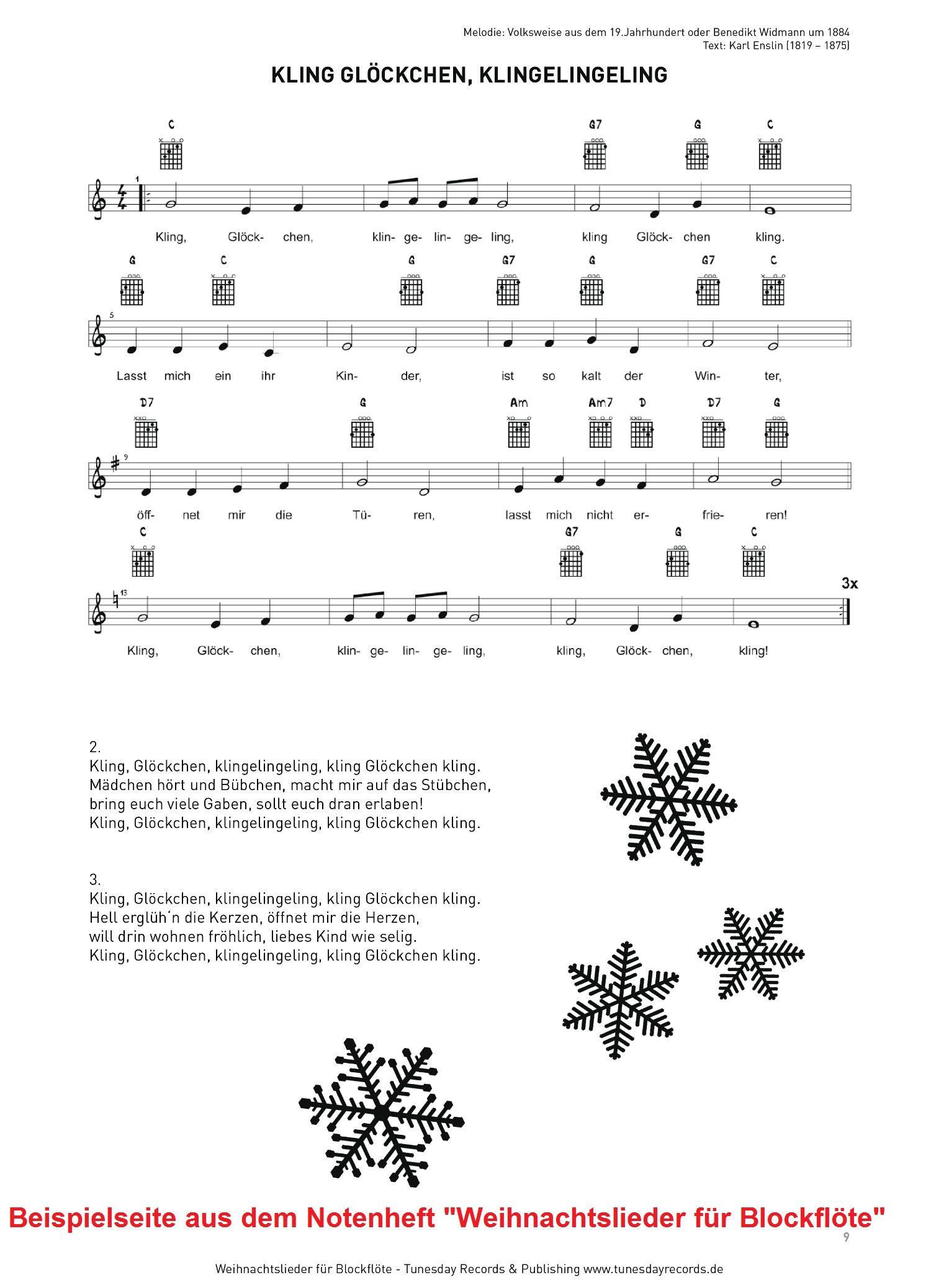Weihnachtslieder für Blockflöte mit MIDI/MP3-Download - Tunesday Records