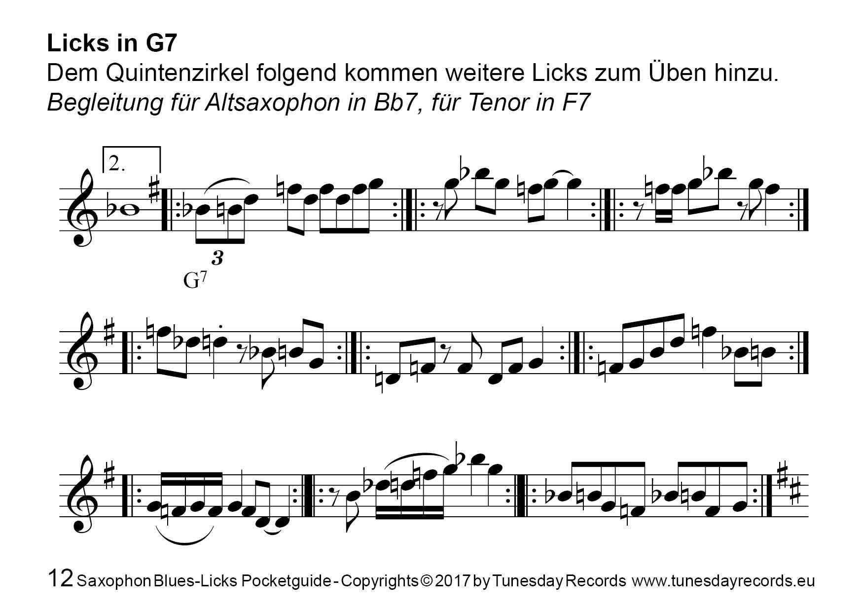Saxophon Blues-Licks (Pocketguide mit MP3-Download) - Tunesday Records