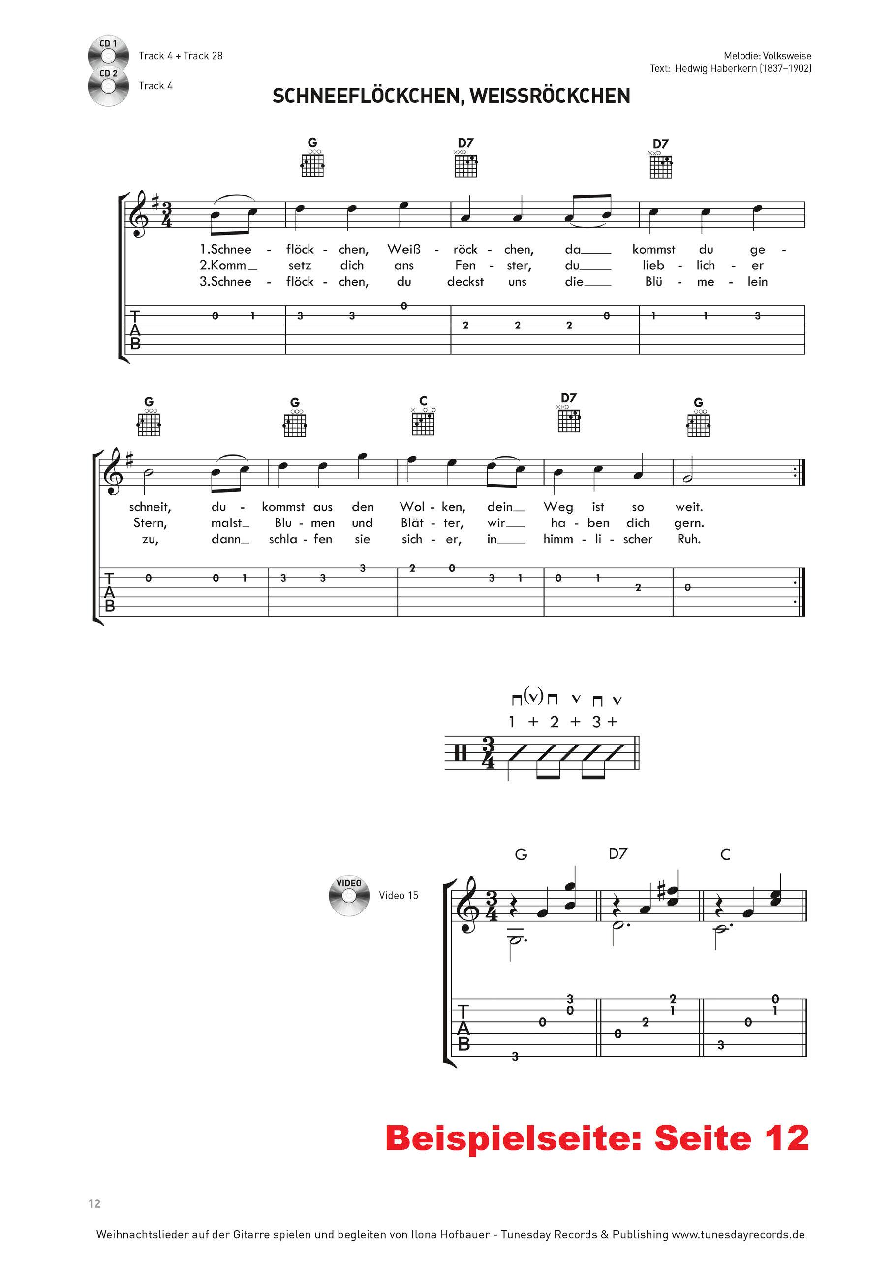 Weihnachtslieder auf der Gitarre spielen und begleiten - Tunesday ...
