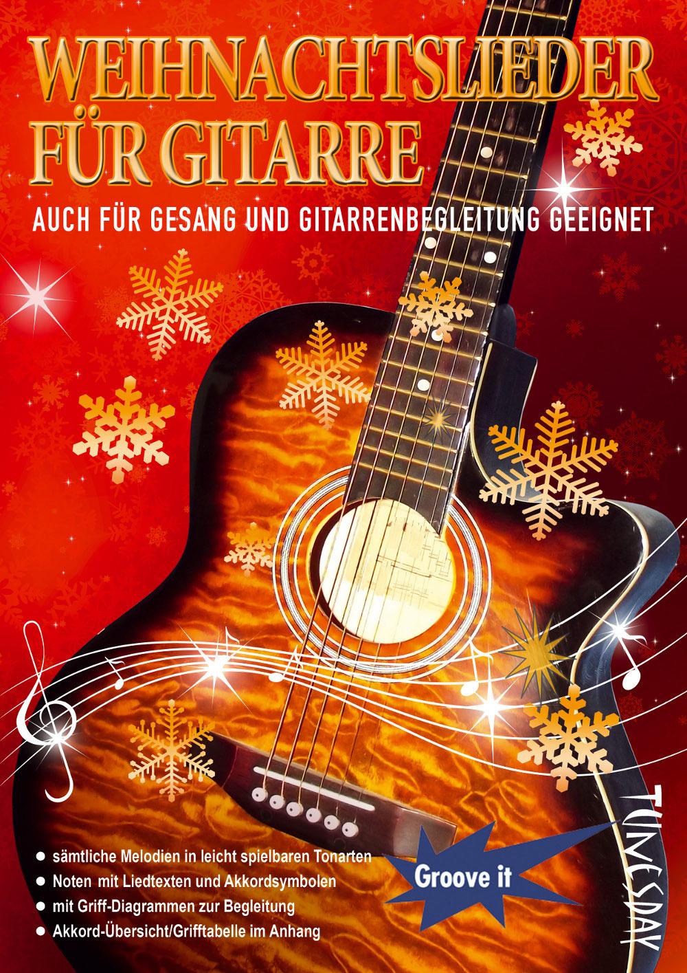 Weihnachtslieder für Gitarre - Noten mit Liedtexten, Akkordsymbolen ...
