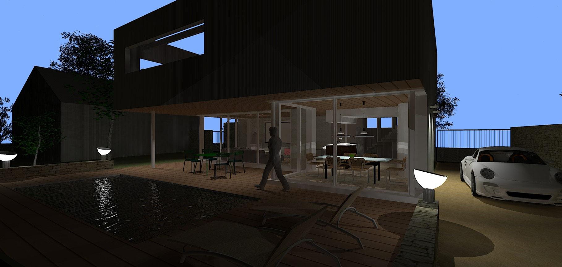 Maison Ossature Métallique Contemporaine modèle royan - hervé brémaud - maitre d'oeuvre bâtiment