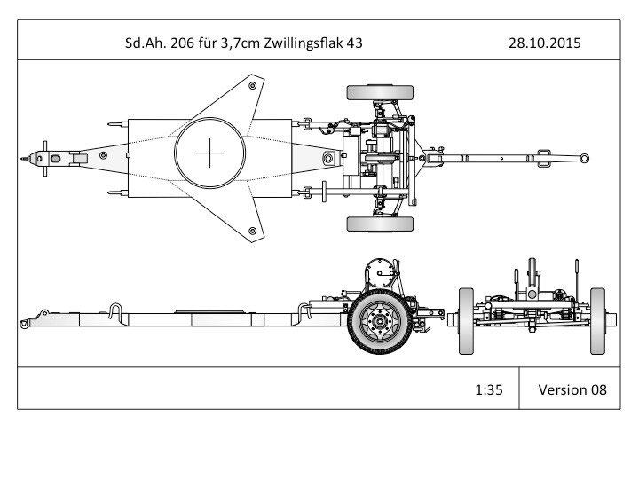 Sonderanhänger Sd.Ah. 206 für 3,7cm Zwillingsflak 43, HS117 ...