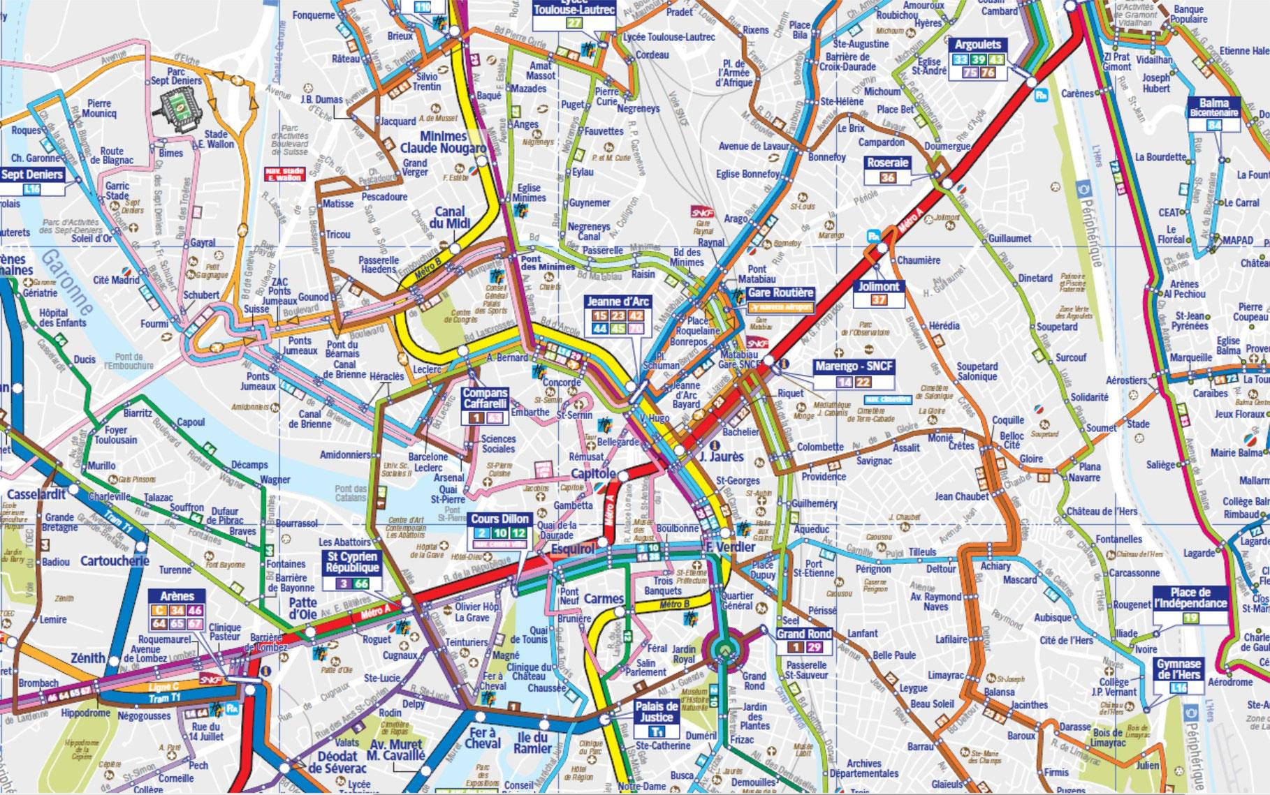 Transports Quartier Chalets Roquelaine Toulouse