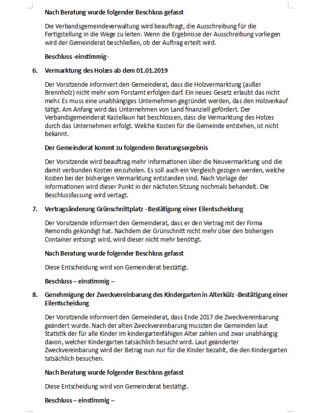 Niederschrift Von Der Gemeinderatssitzung Vom 07062018