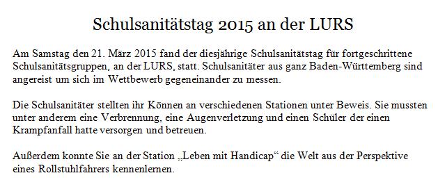 Schulsanitätstag - Homepage der Ludwig Uhland Realschule