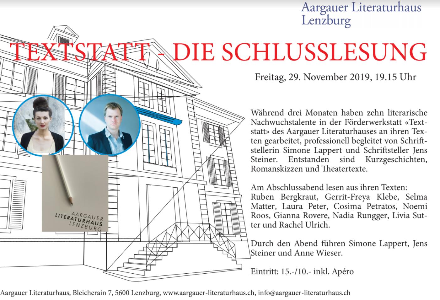 Abschlusslesung Der Textstatt Aargau Nadiarunggers Webseite