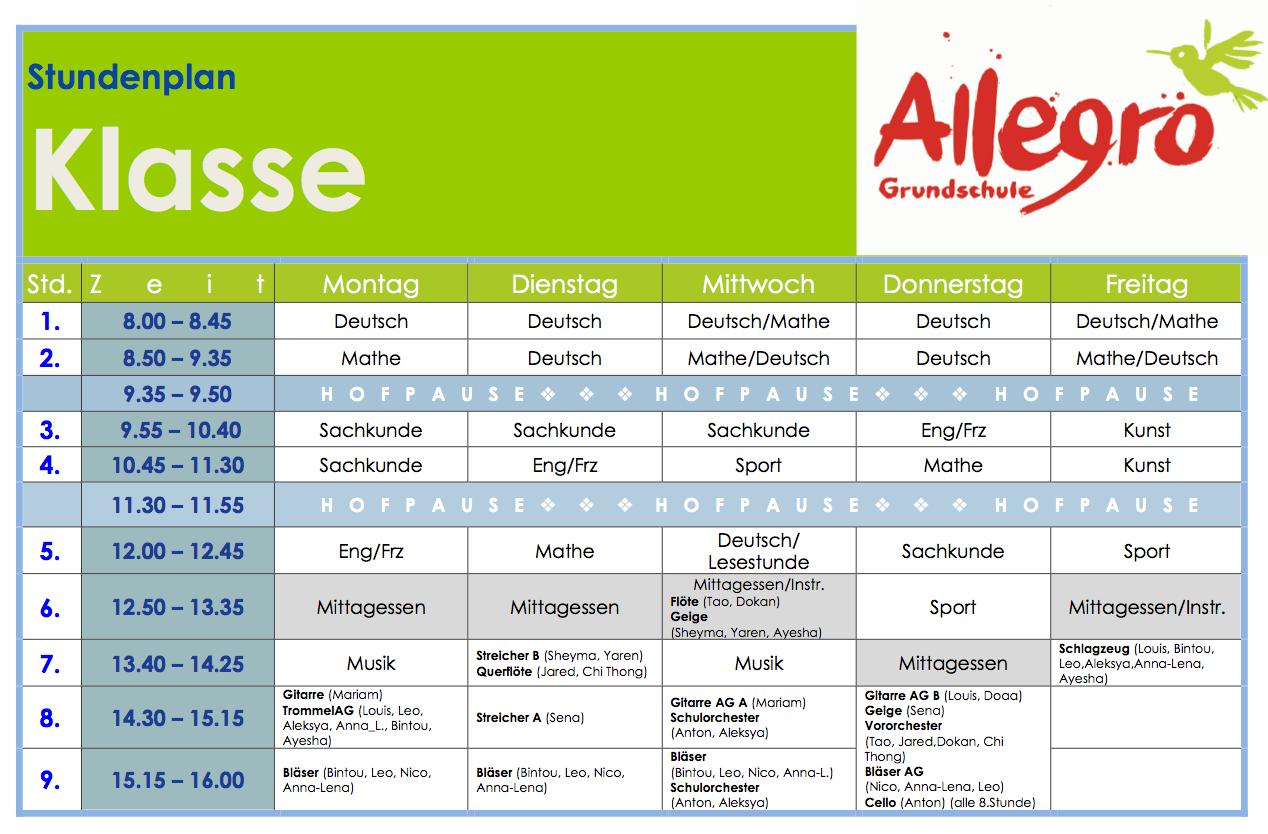 Klasse 4a - Allegro-Grundschule