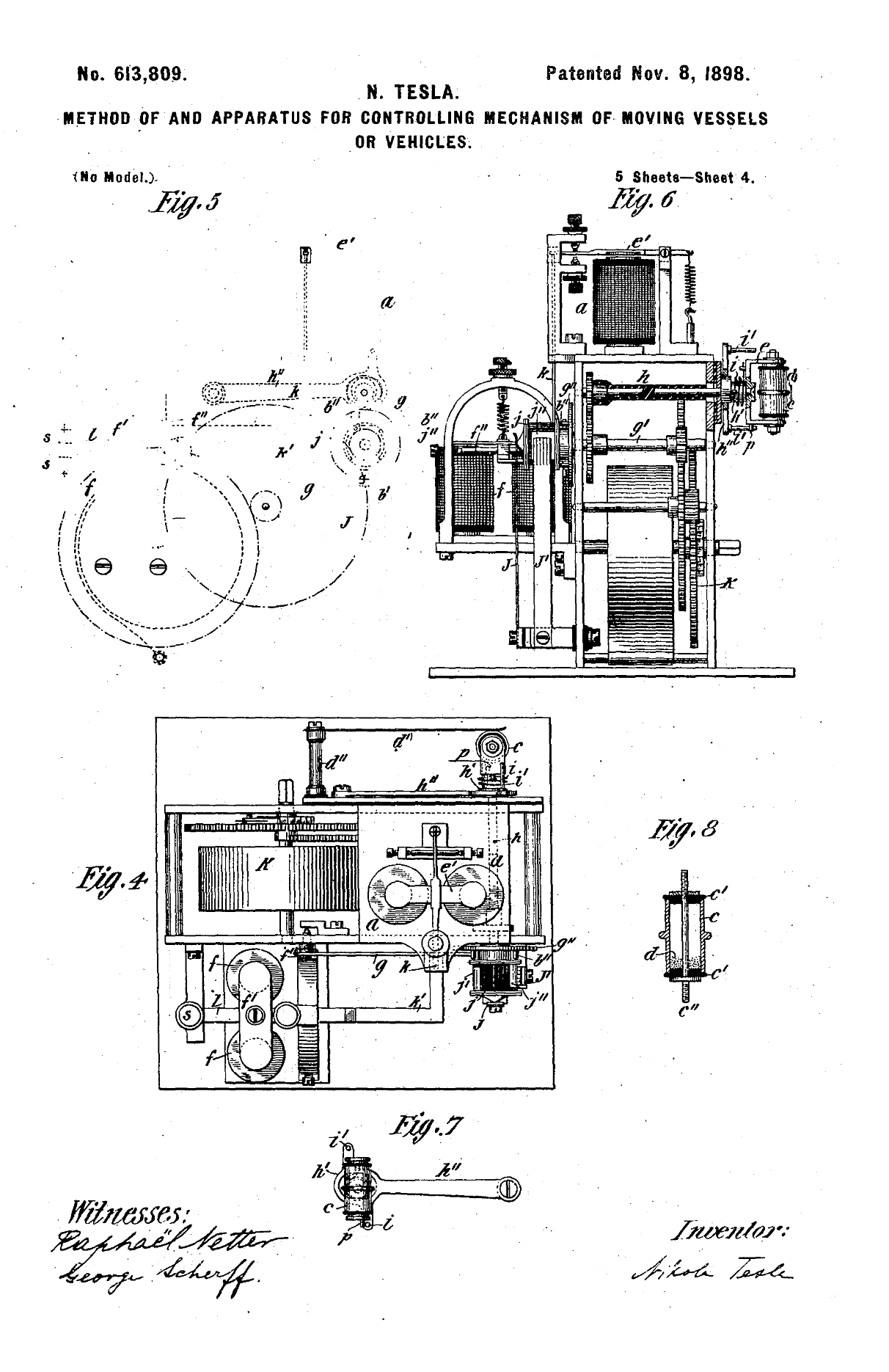 Colorado Springs Laboratory 1899 1900 Open Tesla Research Rex Manufacturing Transformer Wiring Diagram Us613809 Method Of And Apparatus For Controlling Mechanism Moving Vehicle November