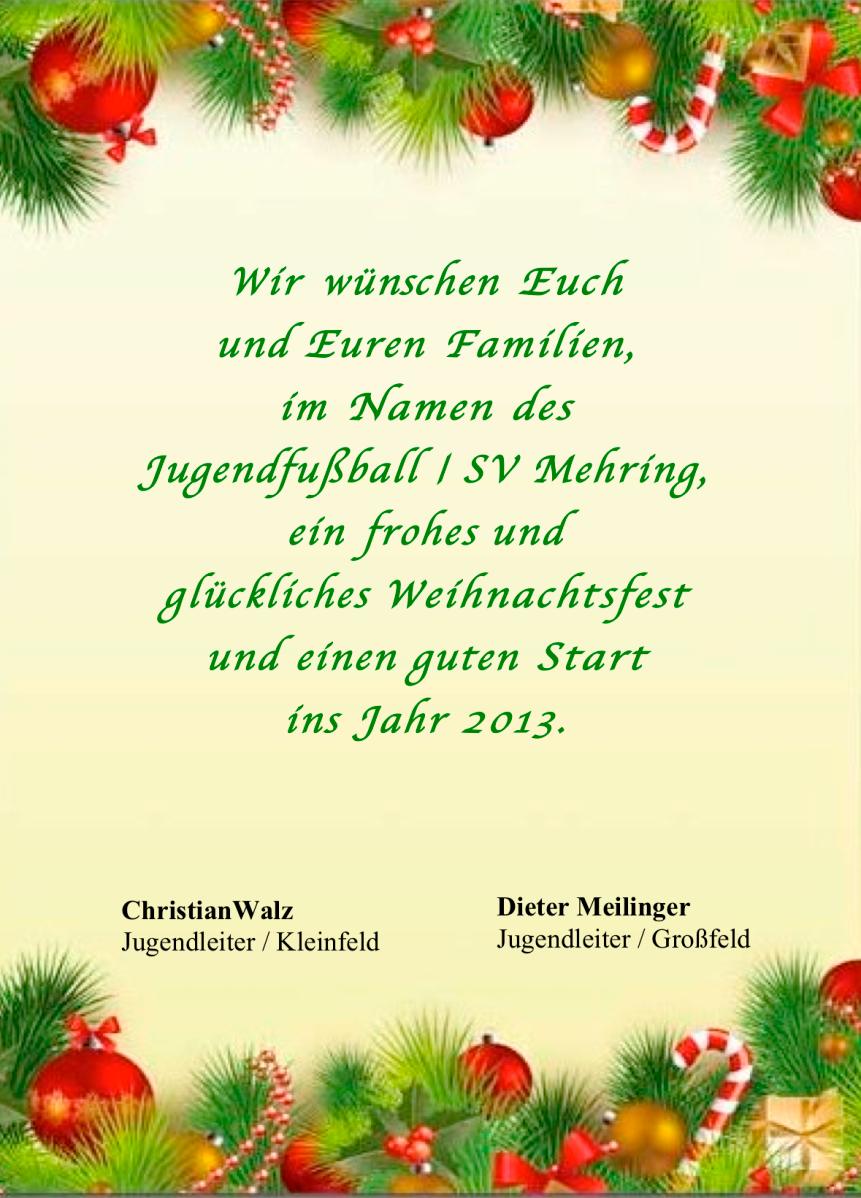 Ich Wünsche Euch Frohe Weihnachten Und Ein Gutes Neues Jahr.Der Jugendfussball Wünscht Frohe Weihnachten Und Ein Gutes Neues