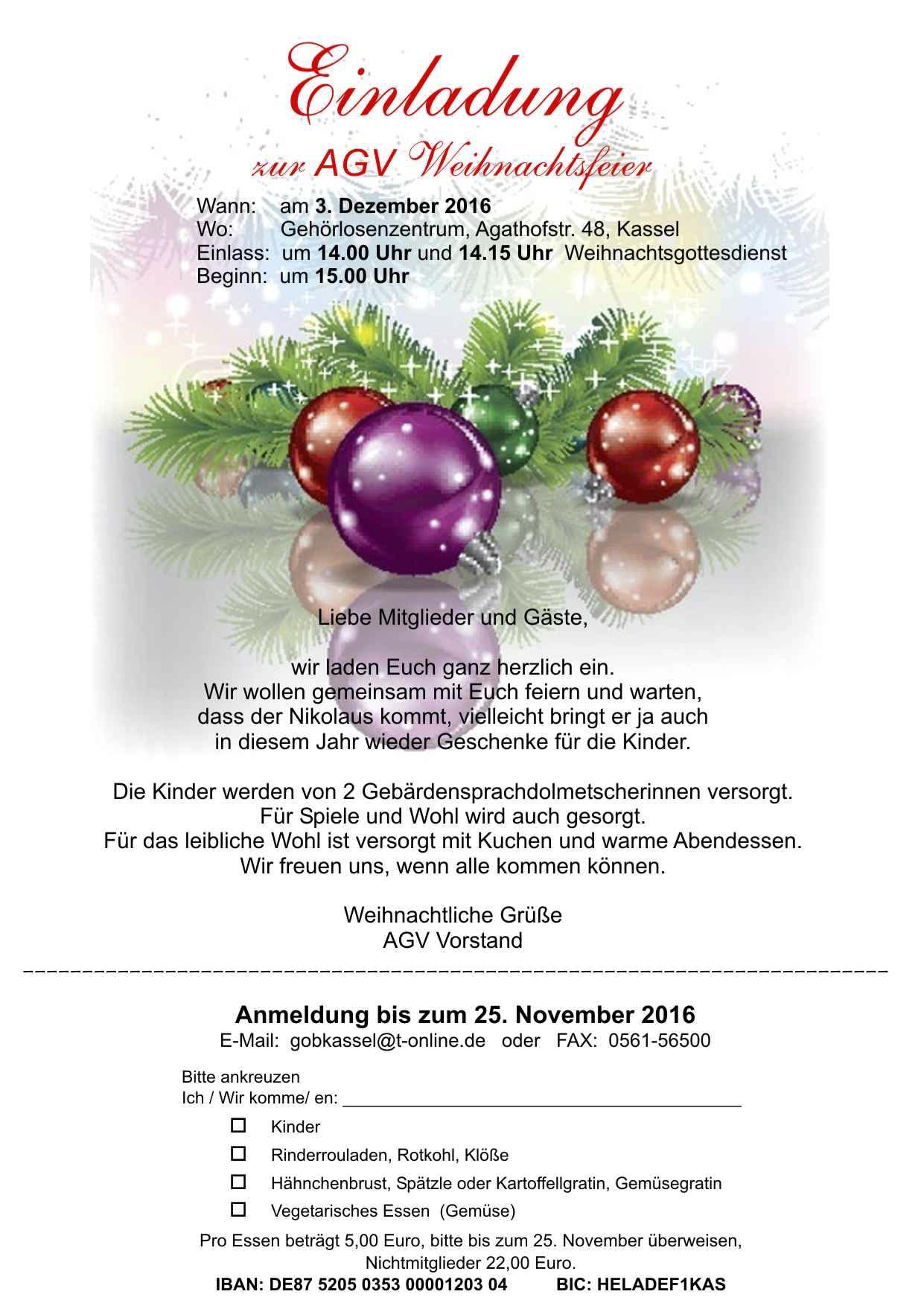 AGV Weihnachtsfeier im GLZ - agv-kassel