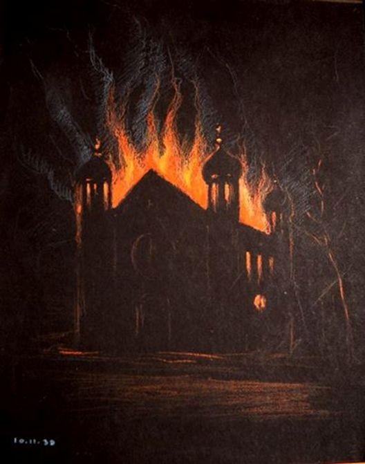 Brennende Liberale Synagoge: Das einzige Bild der ersten Darmstädter Brandnacht 1938 (Aus: Frenzel: Eine Zierde unserer Stadt, 2008)