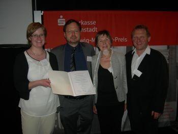 Nach der Metzger-Preis-Ehrung: Sandra Klein, Martin Frenzel, Lilo Kiel, Martin Remmele vom FLS / Foto: FLS