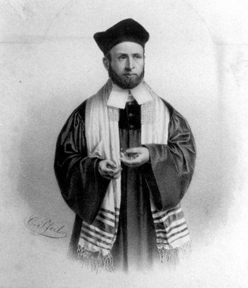 Erster Rabbi der Liberalen Synagoge: Der Thora-Gelehrte und Orientalist Dr. Julius Landsberger (1819-1890) / Litho: Stadtarchiv