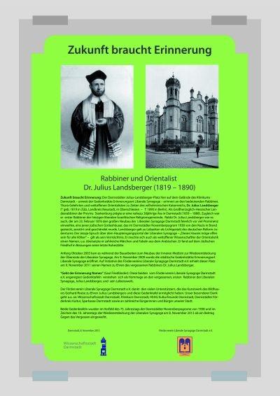 """Zweite Gedenktafel """"Hommage an Rabbi Dr.Julius Landsberger"""" - Zukunft braucht Erinnerung - ebenfalls am Landsbergerplatz, Klinikumsgelände"""