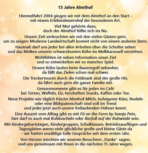 2019 - 15 Jahre Almthof