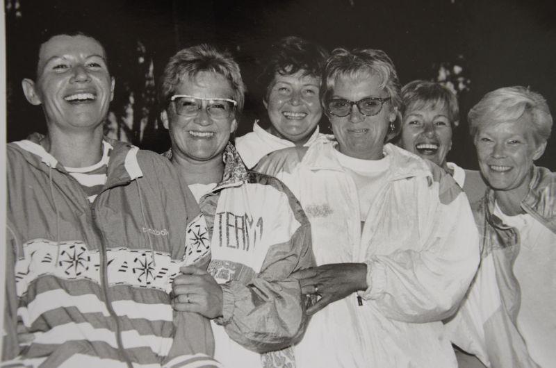 Jahr 1991: Seniorinnen - Gertrud Schneider, Sabine Bergen, Traudl Bicking, Ursula Kresnicka, Jutta Schmidt, Uschi von Scheliha