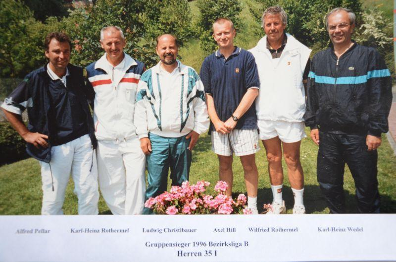 Jahr 1996: Gruppensieger Bezirksliga B Herren 35 I - Alfred Pellar, Karl-Heinz, Rothermel, Ludwig Christlbauer, Axel Hill, Wilfried Rothermel, Karl-Heinz Wedel