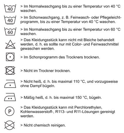 Pflegehinweise f r textilien textilien besticken for Tabelle pflegesymbole