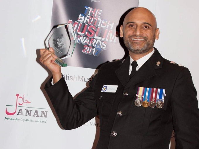 Solihull Police Commander, Chief Superintendent Bas Javid, with the Uniformed Services Person of the Year Award which he received in the British Muslim Awards, January 2017.