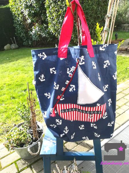 diy, lebenslustig, selber machen, maritime Tasche,Shopper nähen
