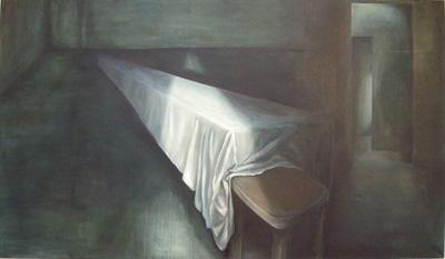 """Lange Tafel"" 2010, Öl auf Leinwand, 130x230"