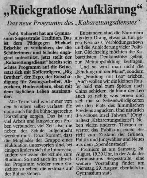 """Ankündigung in der """"Wuppertaler Rundschau"""" vom 23.8.2000"""