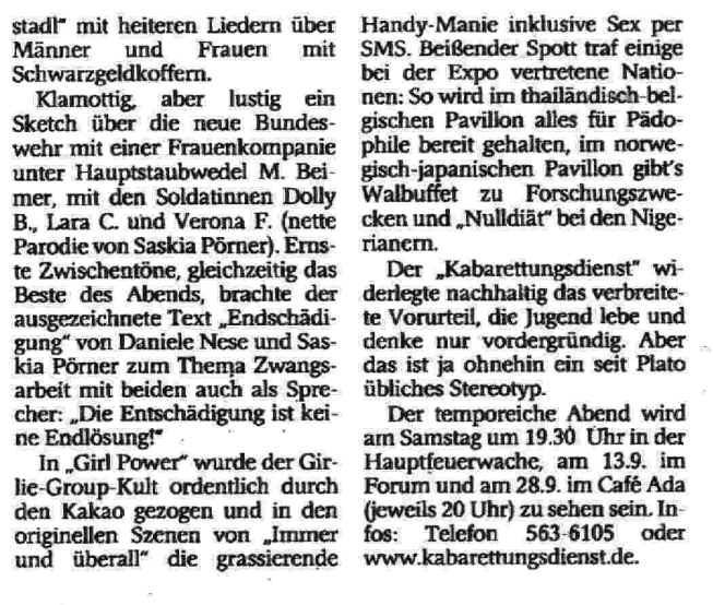 Westdeutsche Zeitung, Wuppertal 31.8.2000