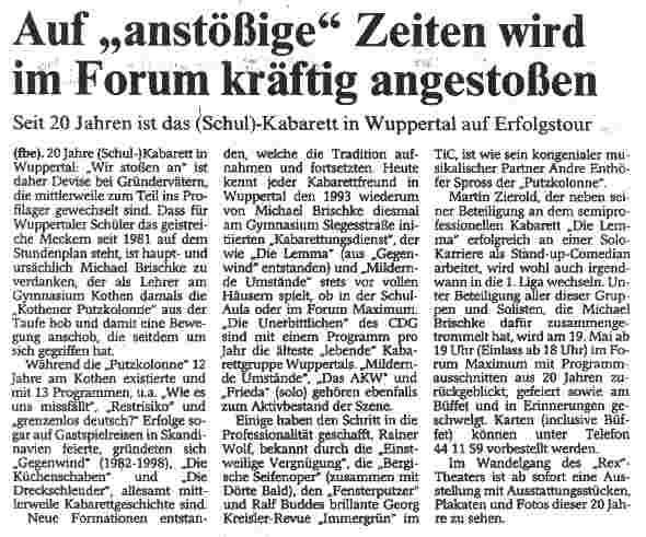 """Westdeutsche Zeitung"" Wuppertal, 12.5.2001"