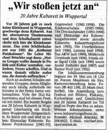 """""""Wuppertaler Rundschau"""", 12.5.2001"""