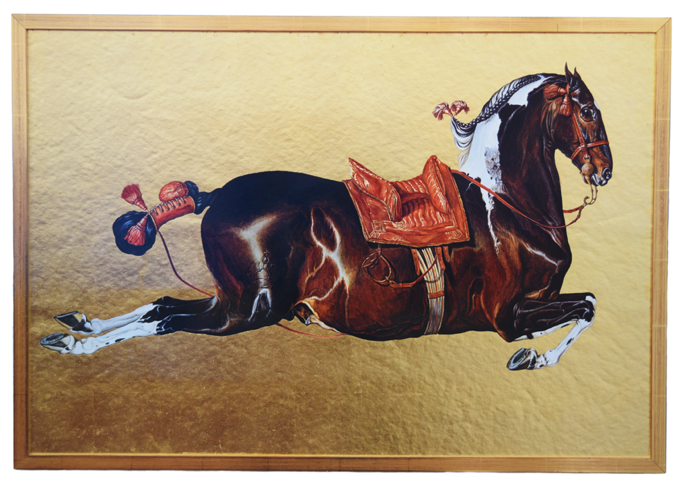 """Springendes Pferd"" 1979, Aquarellfarben, Blattgold, Papier, vergoldeter rahmen 52,7 x 75,8 x 2 cm - Sammlung Renatae Ettl - Foto Nic Tenwiggenhorn"
