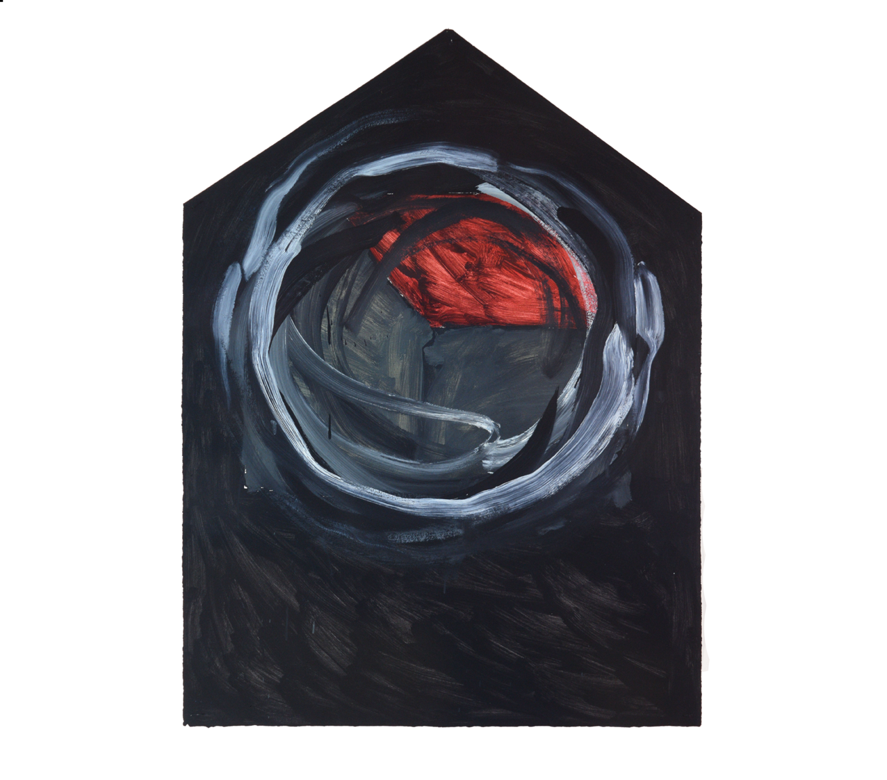 "Single House painted over in Circles, black"" 1981, oil on paper, 106 x 79 cm - Photo Hadler/Stur"