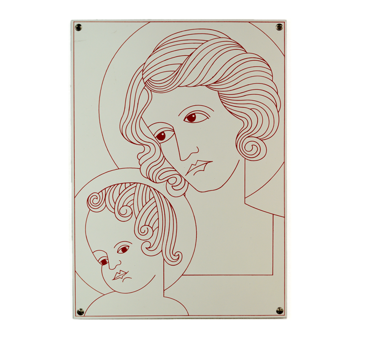 """Madonna with Child"" 2000, Enamel on sheet steel - Photo Hadler/Stuhr"