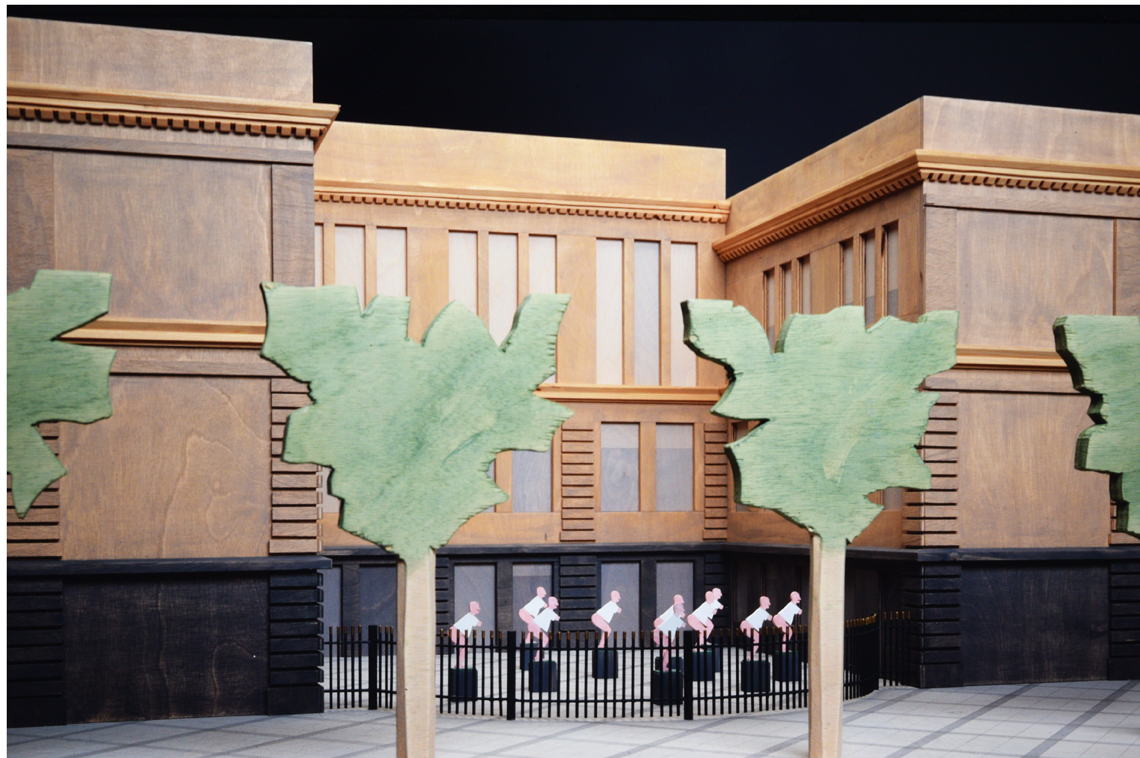 Karlsplatz model and museum court, painted wood, hight 50 cm, 1990 - Photo Hadler/Stuhr