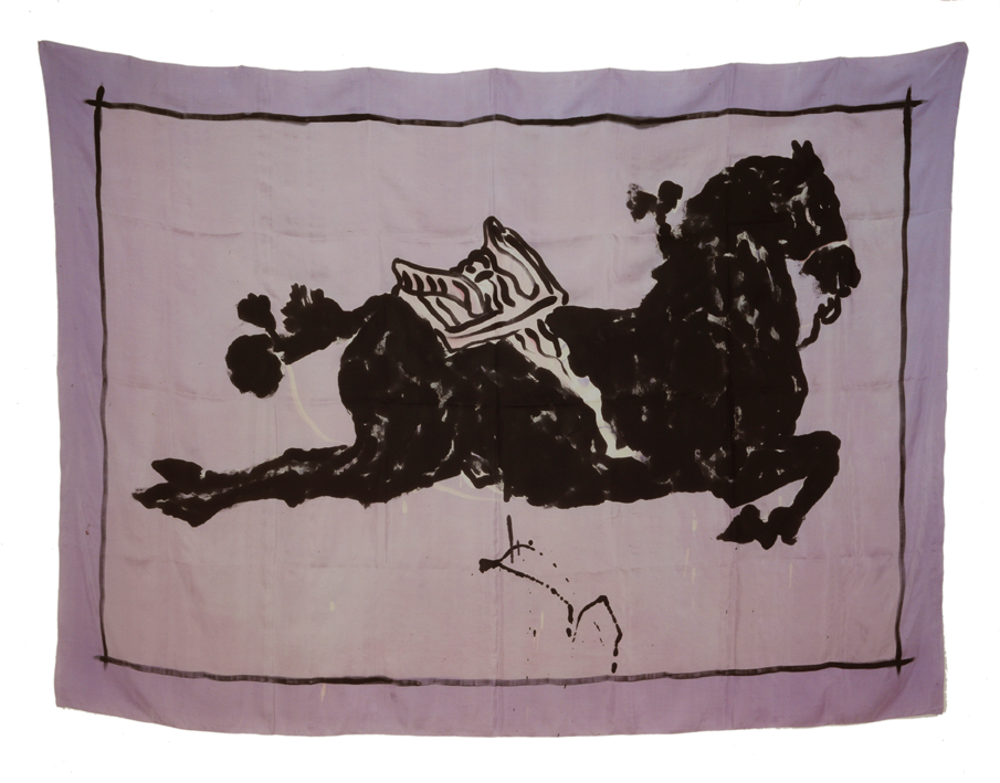 """Horse with Loose Saddle"" 1980, batik, ink on silk 145 x 205 cm - Photo Hadler/Stuhr"