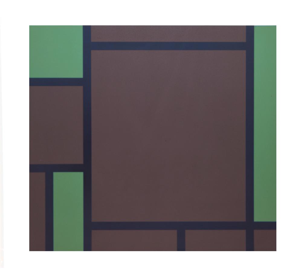 """""""Mondrian vert"""", 1991, vernis de voiture sur tôle d'acier, 82,2 x 90,2 x 2,5 cm - Photo Nic Tenwiggenhorn"""