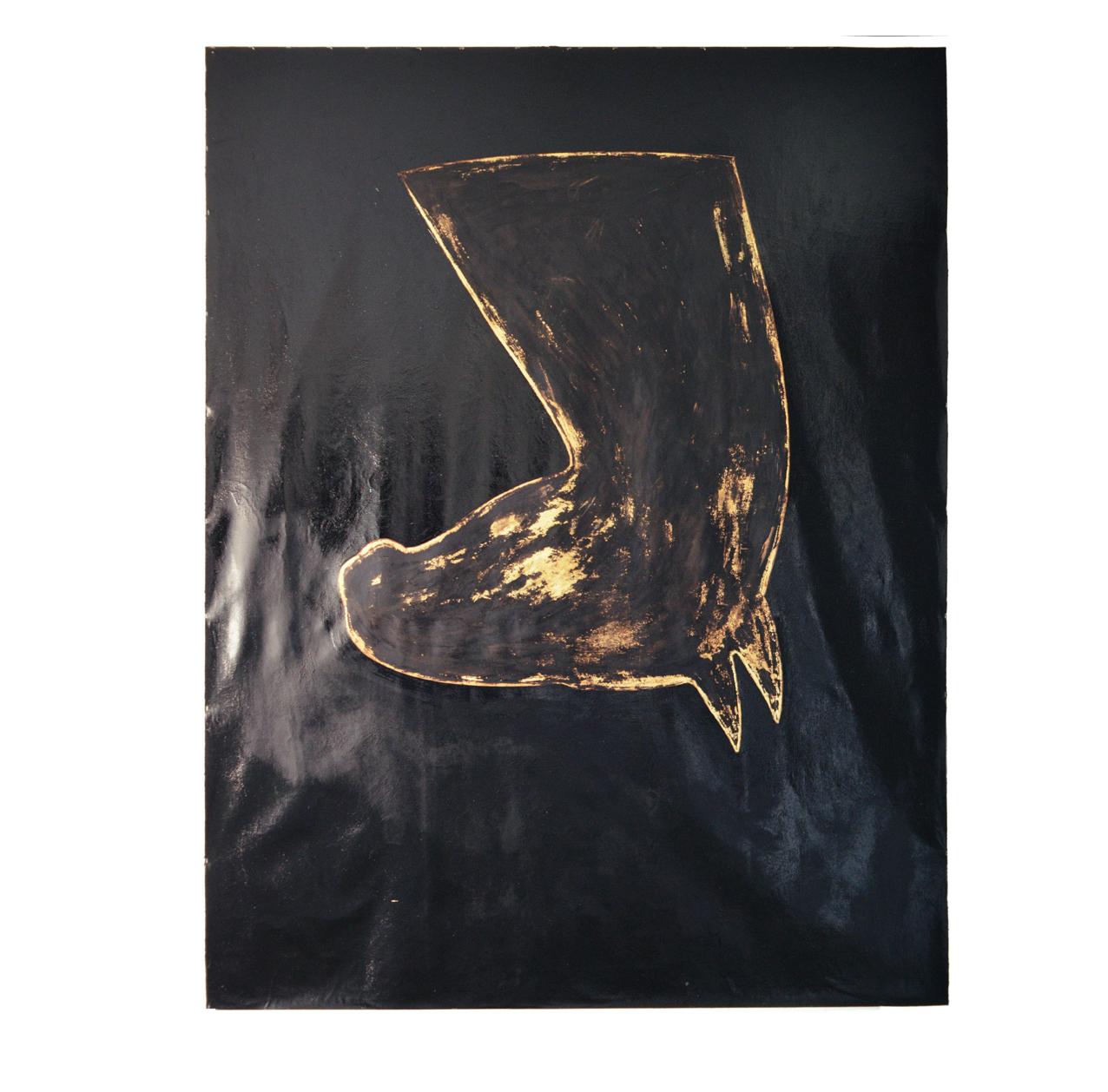 """Pferdebild gold-schwarz"" 1981, Teer, Öl, Goldbronze auf Leinwand, 275 x 210 cm - Sammlung Don & Nancy Eiler, Madison, Wisconsin - Foto Stephan Hadler"