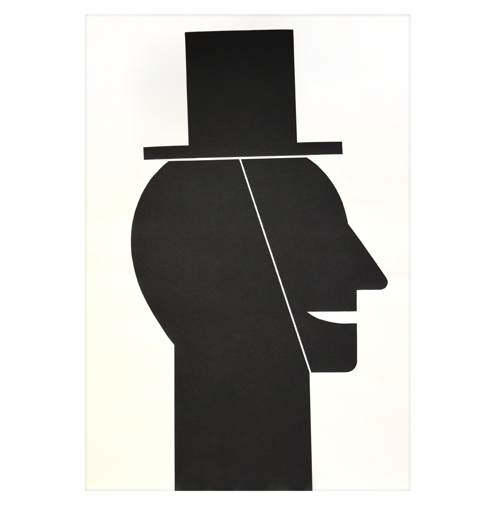 """Head with Hat"" silkscreen on fleece, 71 x 104 cm - Edition: 57"