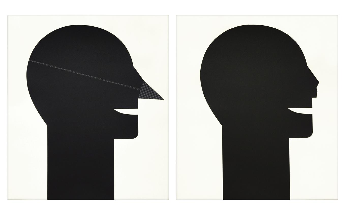 """Dyptique """"Avec et sans nez"""" 1989, sérigraphie sur papier à la cuve, 74,3 x 84,2 cm chaque - édition"""