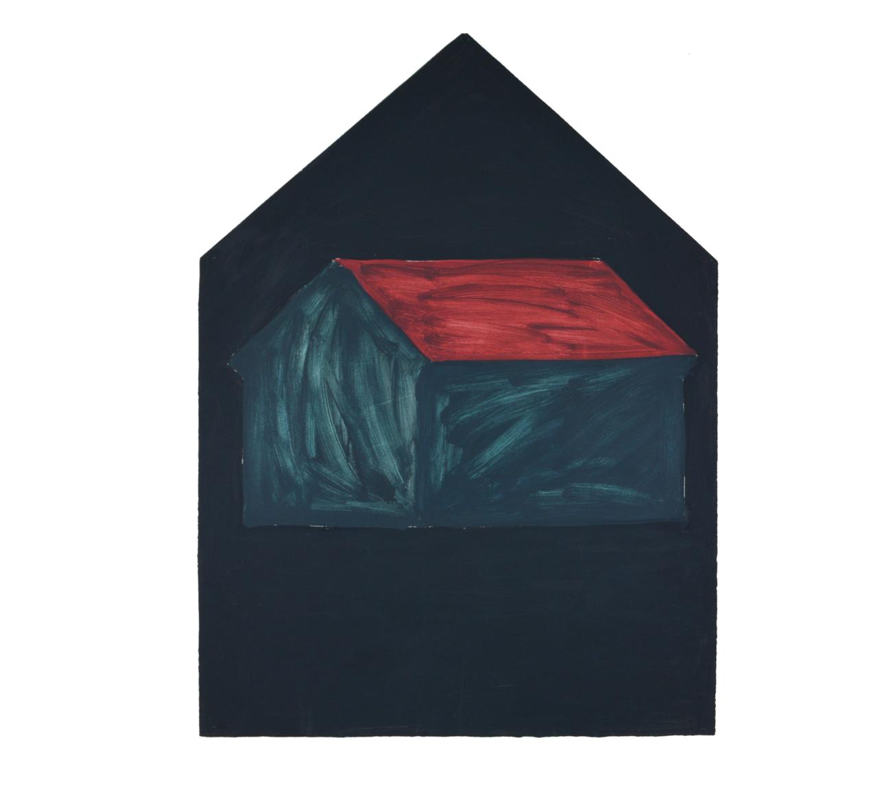 """""""Maison simple sombre"""" 1981, peinture à l'huile sur papier, 106 x 79 cm - Collection Dr.Dohmen, Aachen, Allemegne - Photo Hadler/Stuhr"""