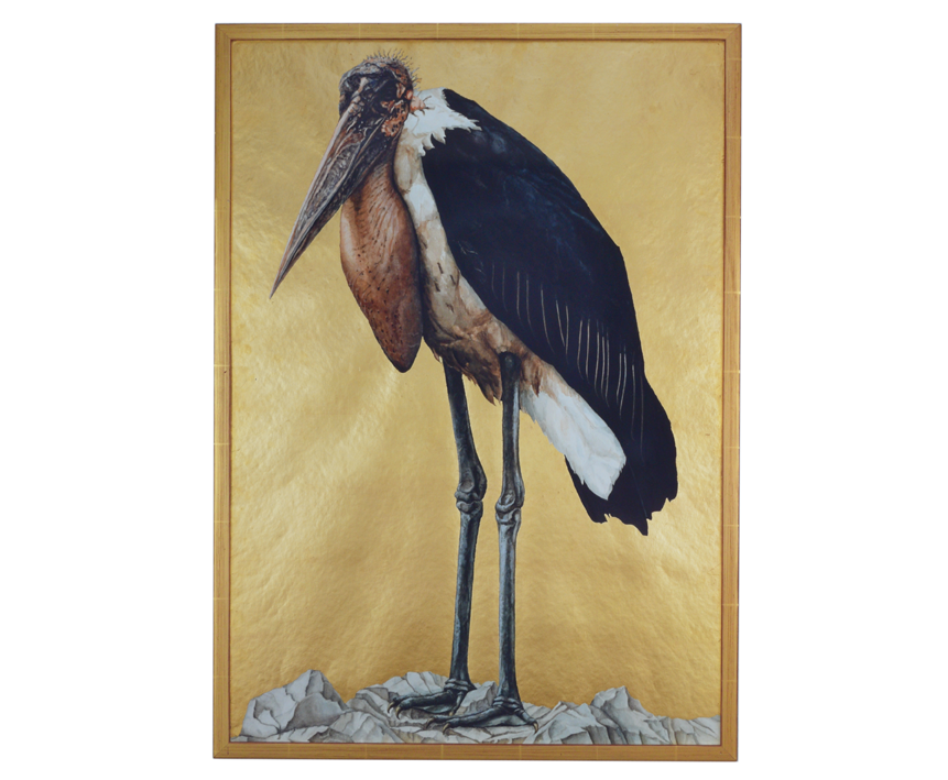 """Marabu"" 1978, Aquarellfarben, Blattgold, Papier, vergoldeter rahmen 54,5 x 76,3 x 2 cm - Sammlung privat Mönchengladbach - Foto Hadler/Stuhr"
