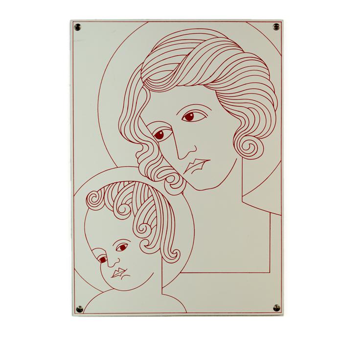 """""""Madonna mit Kind"""" 2000, Email auf Stahlblech - Foto Hadler/Stuhr"""