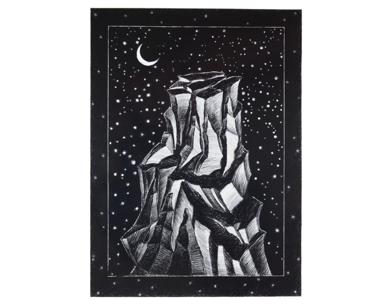 """""""Nuit étoilée"""" 1981, fusain sur papier, 157 x 115 cm - Photo Hadler/Stuhr"""