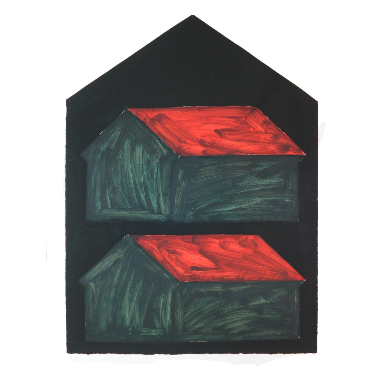 """""""Doppelhaus dunkel"""" 1981, Öl auf Papier, 106 x 79 cm - Foto Hadler/Stuhr"""