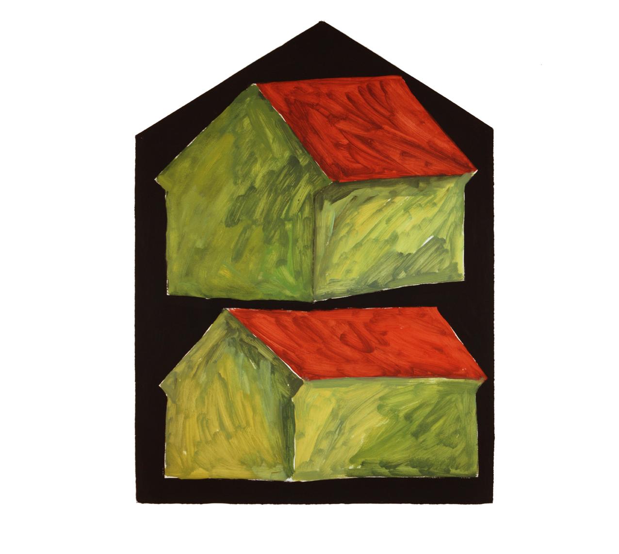 """""""Doppelhaus leuchtend grün"""" 1981, Öl auf Papier, 106 x 79cm -Sammlung Don & Nancy Eiler, Madison Wisconsin - Foto Hadler/Stuhr"""