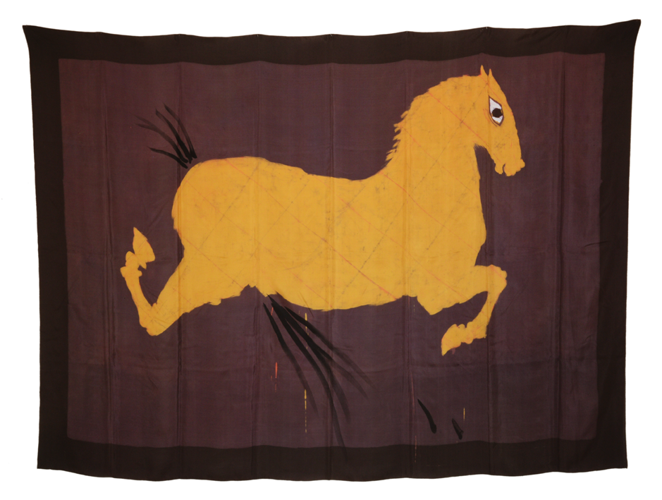 """""""Pferd mit Auge"""" 1980, Batik, Tusche auf Seide 145 x 205 cm - Foto Hadler/Stuhr"""