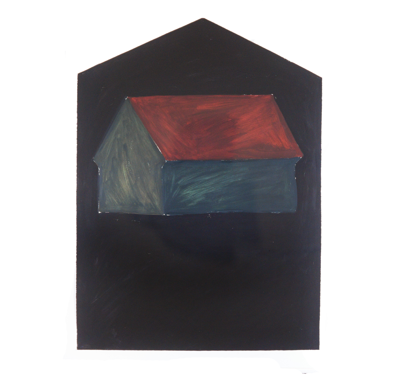 """Single House, mat rectangular"""" 1981, oil on paper, 106 x 79 cm - Collection Tsagaris/Hilberry, Detroit - Photo Hadler/Stuhr"